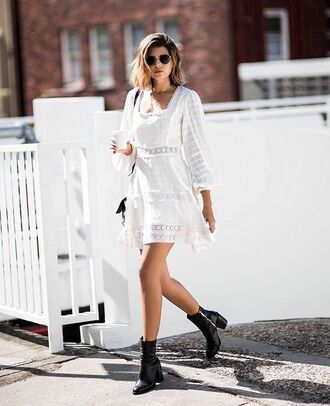 shoes boots black boots bag dress white dress mini dress sunglasses