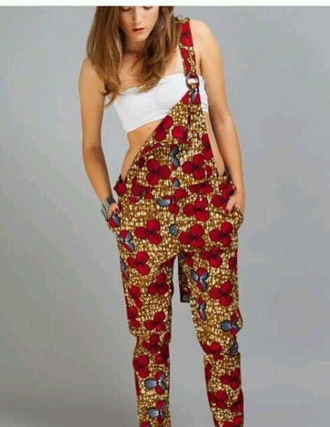 Jumpsuit Pullover African Print African Patterns Red
