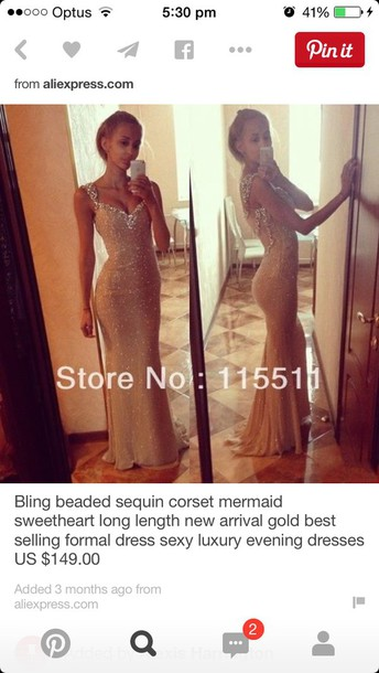 dress long mermaid beaded slit up the side #prom