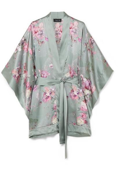 MENG kimono floral print silk green satin top