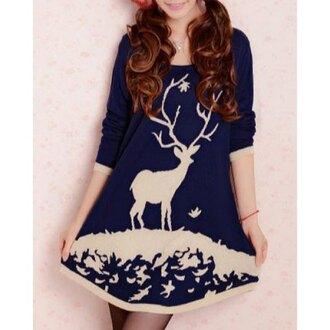 dress sweater rose wholesale sweater dress christmas vintage pretty deer