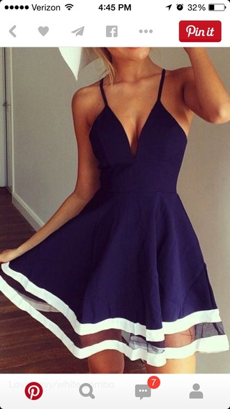 dress blue dress summer dress low cut top white stripe royal blue dress