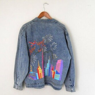 jacket 90s style vintage blue denim cute old grunge hipster denim jacket new york city hipster wishlist