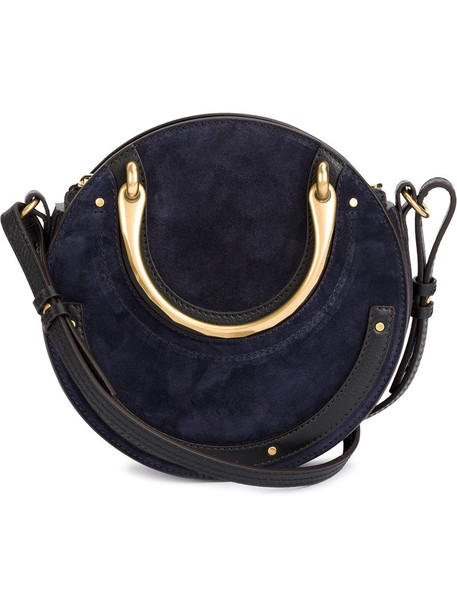 Chloe women bag leather blue suede