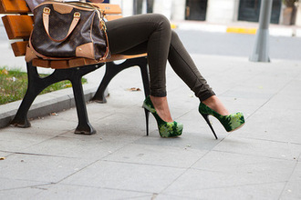 shoes green green heels green shoes high heels heels bag