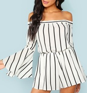 romper,girly,girl,girly wishlist,white,black,black and white,stripes,one piece,cute,summer,summer outfits,long sleeve romper,white romper,off the shoulder,flare sleeve,flare sleeves,cute rompers,black romper,romper shorts
