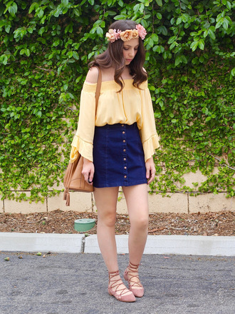 cost with me blogger shoes long sleeves off the shoulder yellow top flower crown denim skirt flats brown bag
