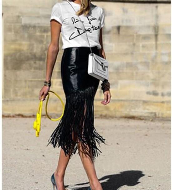 black faux leather skirt pu skirt black pu skirt tassel skirt long tassels pencil skirt midi skirt www.ustrendy.com skirt