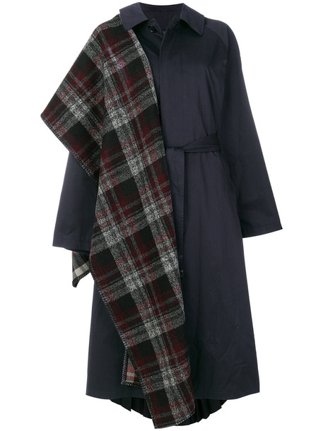 Balenciaga - Pulled trench coat - women - Cotton/Polyester/Wool/Cupro - 34, Blue, Cotton/Polyester/Wool/Cupro