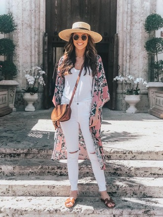 coat kimono floral kimono top white top white jeans slide shoes hat straw hat jeans spring outfits