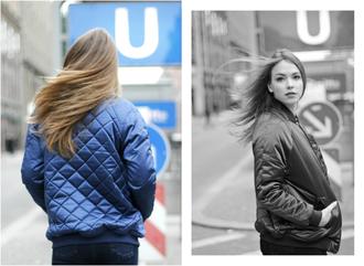 gold schnee blogger blue jacket quilted bomber jacket