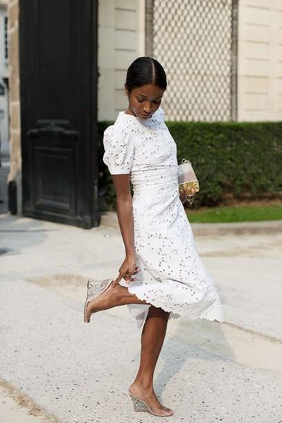 a0481b4d7bb dress eyelet dress white dress midi dress short sleeve dress date dress  wedges wedge sandals summer