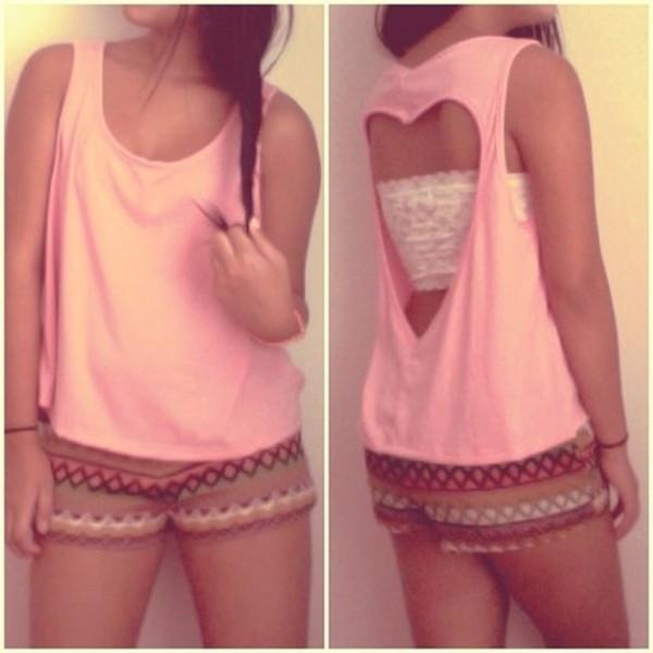 shirt heart cut-out tank top baggy underwear t-shirt pink shorts aztec High waisted shorts pink shirt top bra white bra cute blouse