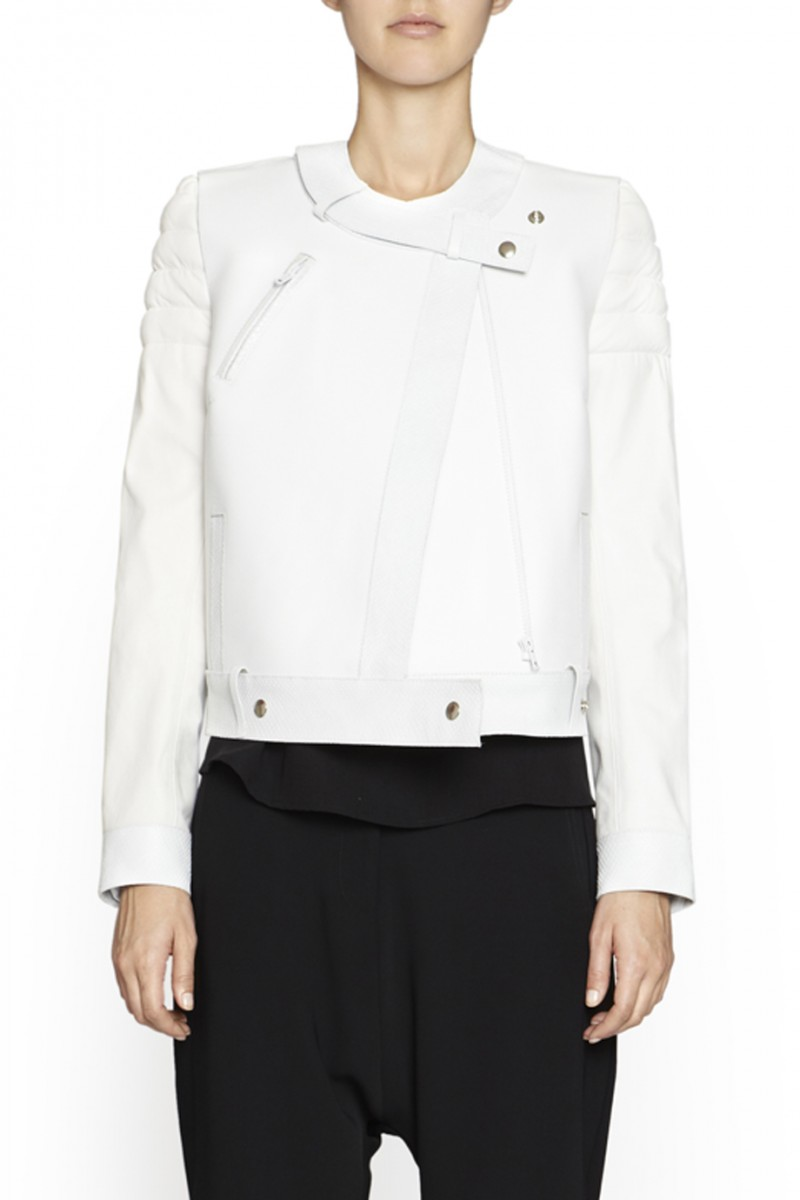 Ginger motele leather jacket in white by camilla and marc