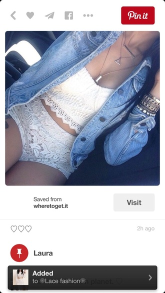 shorts outfit lace shorts denim jacket cropped crop tops white crop tops lace top two-piece white top white shorts top