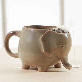 home accessory elephant coffee tea mug tan