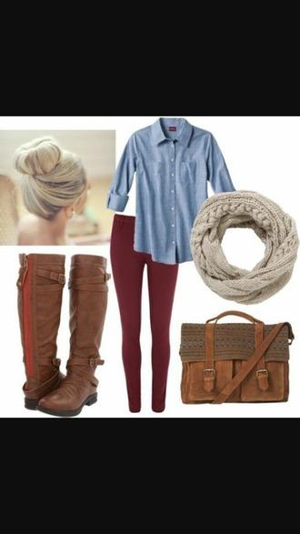 shirt blue shirt red jeans beige scarf