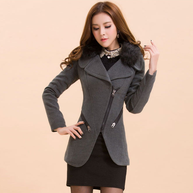 Delicate slim zipper slim woolen korean thicken overcoats: bagsq.com