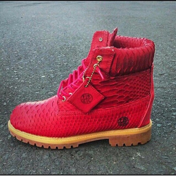 shoes, red, timberland boots shoes, snake skinn, dope ...