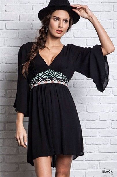 dress little black dress black dress bell sleeved dress boho dress boho boho chic trendy