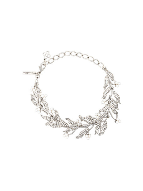 oscar de la renta women necklace floral grey metallic jewels