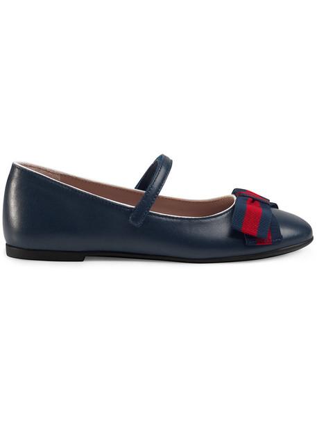 Gucci Kids ballet leather blue shoes