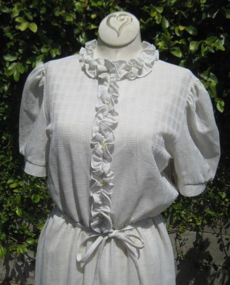 Vintage off white ruffle dress vr707 by vintagerenewals on etsy