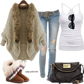 cardigan,fashion,fur coat,jeans,belt,sunglasses,tank top,white,black,purse,boots,fur