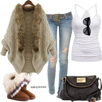 cardigan fashion fur coat jeans belt sunglasses tank top white black purse boots fur