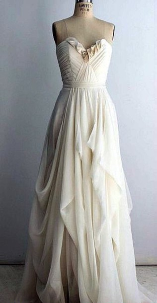 dress prom long gown flowy ivory bridesmaid elegant dress white white dress cream cream dress strapless strapless dress long dress wedding dress white long dress