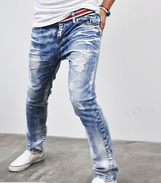 Men Acid Wash Jeans White Shoes