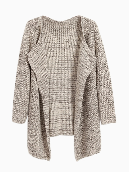 Open Front Mixed Knit Cardigan In Beige | Choies