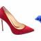 Red suede high heel pumps