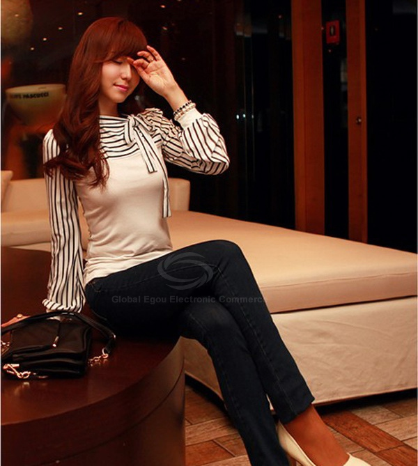 Polo Neck Stripes Long Puff Sleeve Cotton Casual Tops Blouses T-Shirt