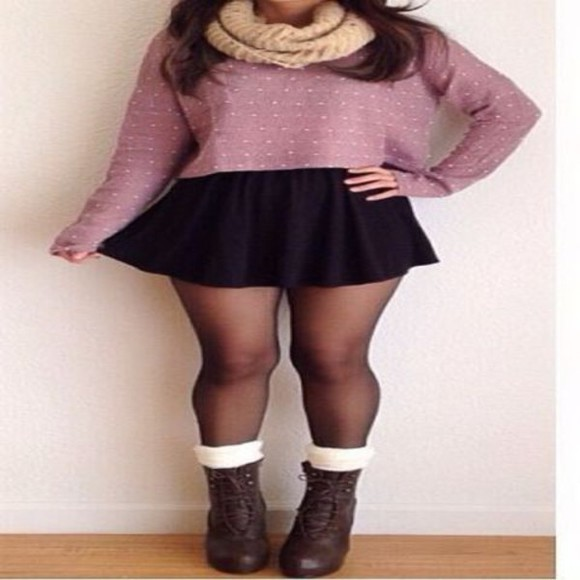 combat boots skater skirt sweater tights