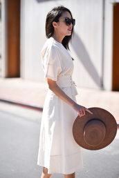 top,skirt,sunglasses,tumblr,corset belt,white top,midi skirt,white skirt,office outfits,work outfits,hat,sun hat