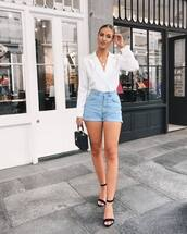 shorts,denim shorts,sandals,bag,shirt
