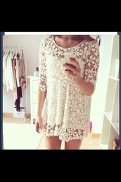 dress,cute,white,lace,lace dress,white lace,white lace dress,tumblr,pretty,flowers,see through,lace flowy top,flown dress