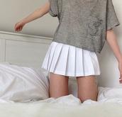 stripes,shirt,blouse,white,skirt,t-shirt,pleated,short,school style,tennis skirt,white skirt,summer,skater skirt,cool,cute,girly,kawaii,teenagers,fashion,style,it girl shop