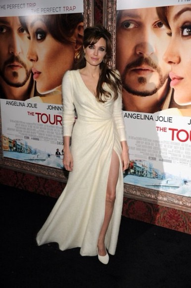 dress angelina jolie cream dress wool dress fine knit soft elegant floor length dress