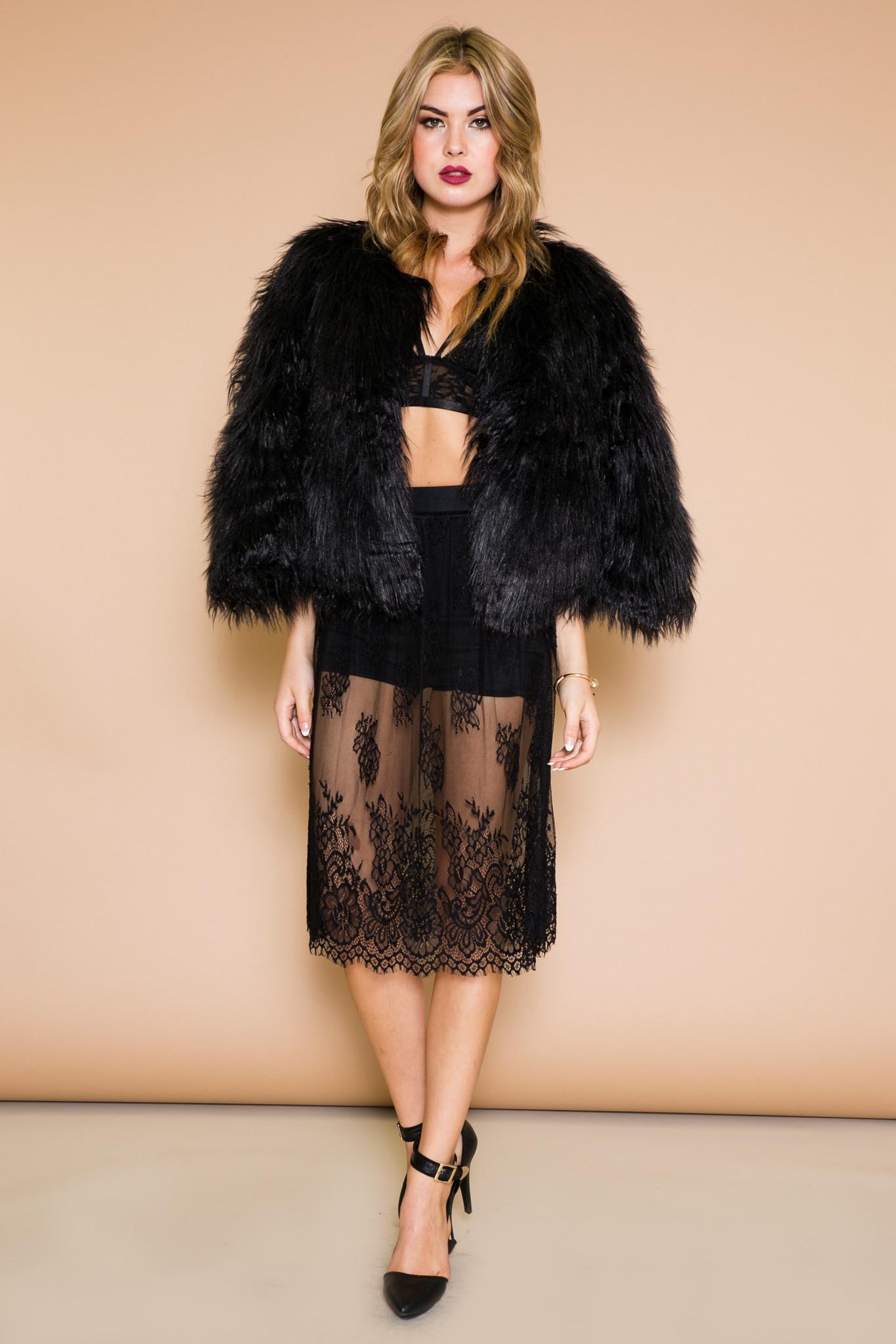 Rowan Faux Fur Jacket - Black | Haute & Rebellious