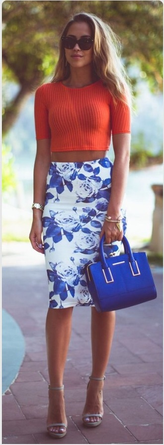 skirt blue and white top