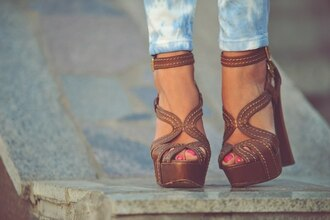 shoes block heels strappy heels brown wedges brown wedges heels girly high heels sandals platform shoes
