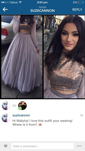 dress grey sequins skirt long two-piece waliyha zayn malik prom outfit chiffon silk floor length floor length dress