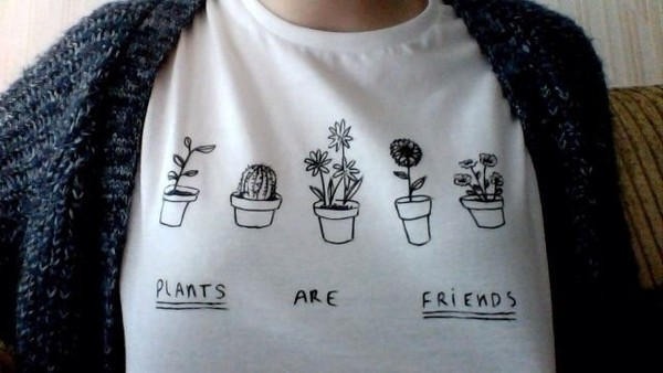 shirt plants t-shirt tumblr plants white t-shirt white shirt white girl fashion top blouse t-shirt graphic tee friends doodles