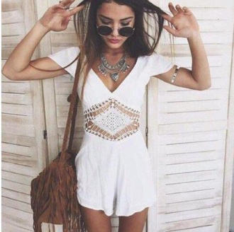 romper white crochet cute