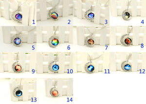 Hot classic colorful galaxy glass hollow moon shape pendant silver tone necklace