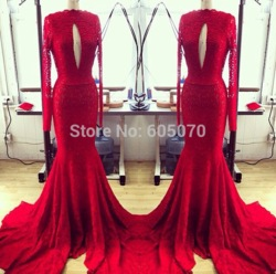 Online shop 2014 fashion elegant mermaid red lace prom dress party/evening dress\ backless with sleeve