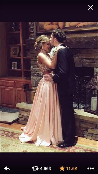 dress prom dress blonde hair two-piece gorgeous prom menswear