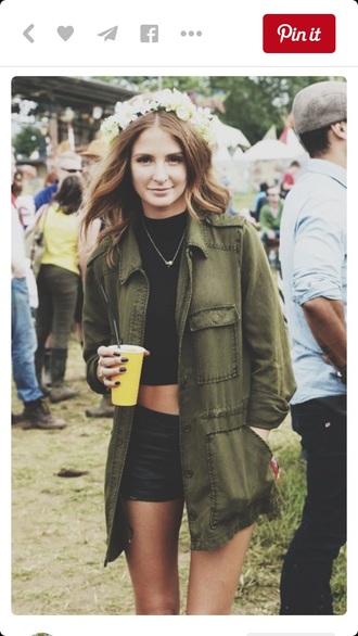 coat green khaki jacket festival summer